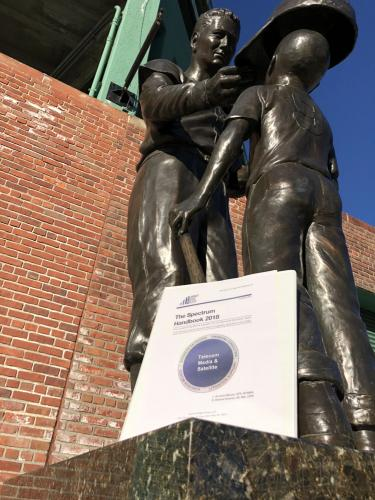 At the feet of Ted Williams Statue at Fenway Park in Boston