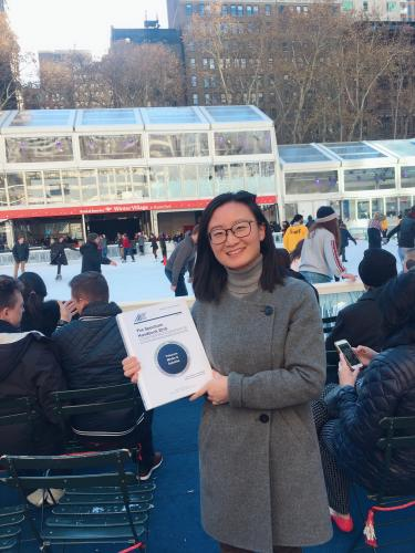 At NYC's Bryant Park ice skating ring with Fan