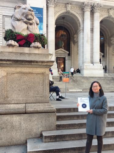 In front of the NYC Public Library with Fan Jia